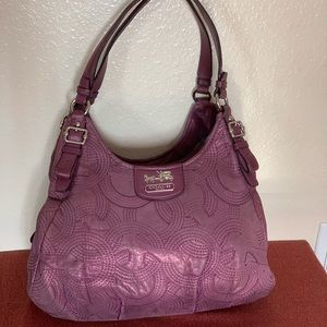 Coach-Madison Stitched Purple Leather Maggie Bag
